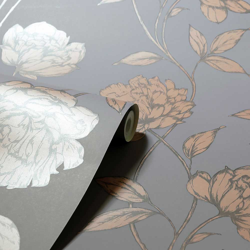 Pretty Floral Wallpaper - Charcoal / Rose Gold - by Arthouse