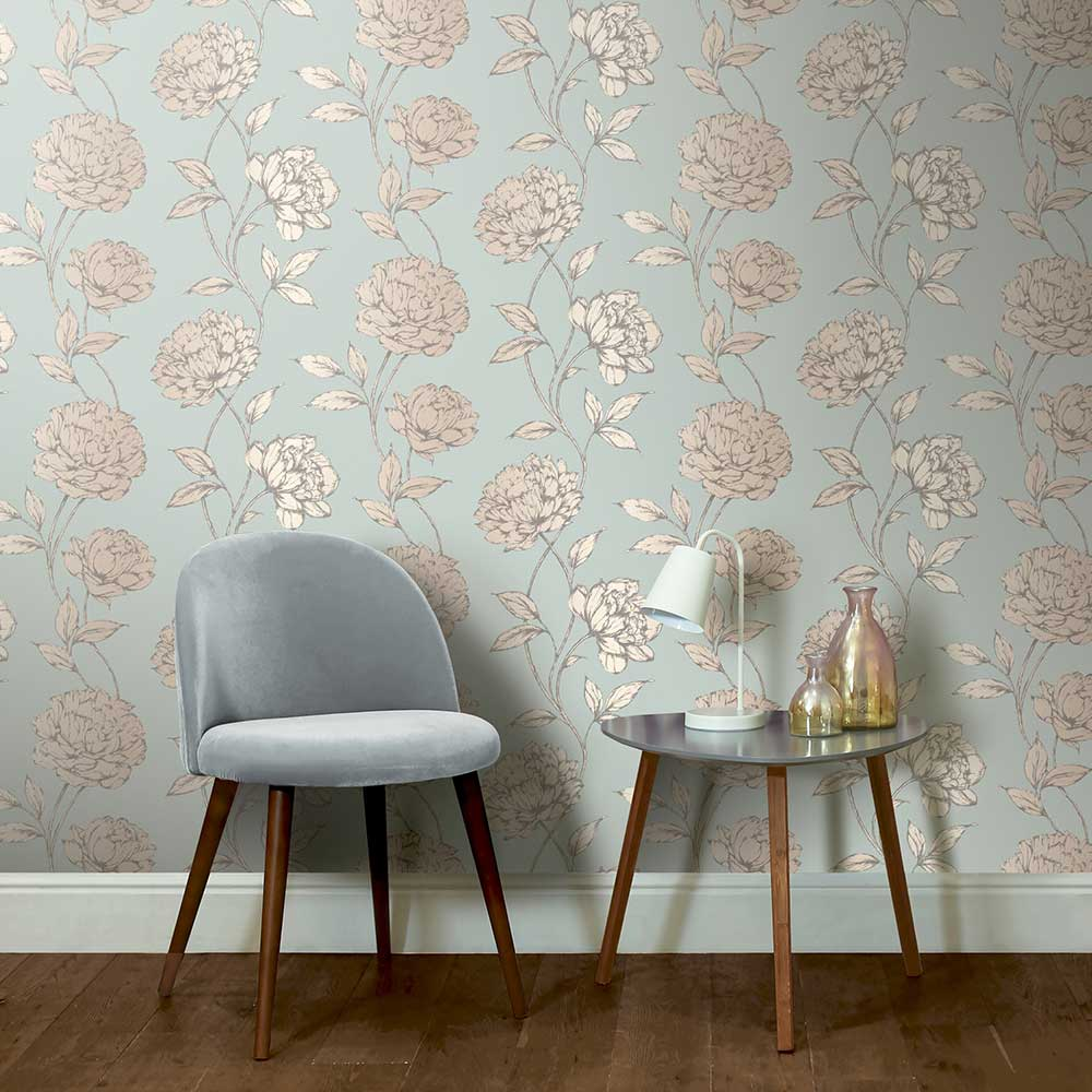 Arthouse Pretty Floral Blue Wallpaper - Product code: 688002