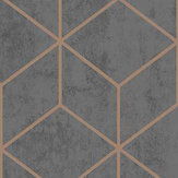 Arthouse Box Geo Charcoal / Copper Wallpaper - Product code: 689002