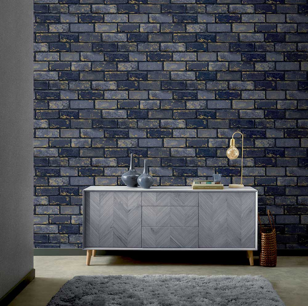 Arthouse Metallic Brick Navy / Gold Wallpaper - Product code: 692200