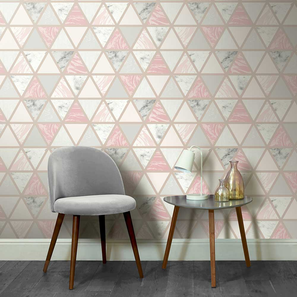 Marble Geo Wallpaper - Pink Multi - by Arthouse
