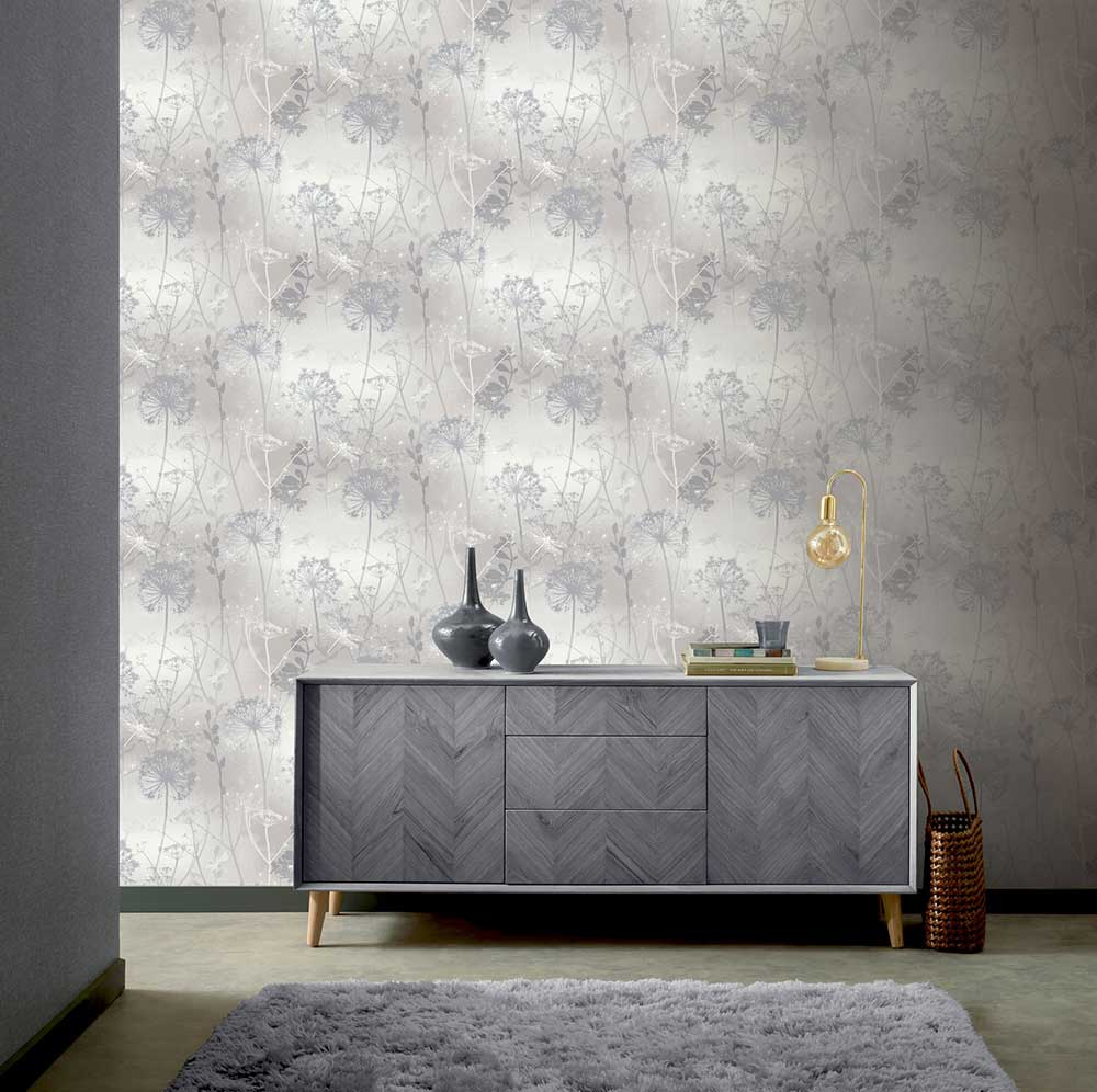 Damselfly Wallpaper - Grey - by Arthouse