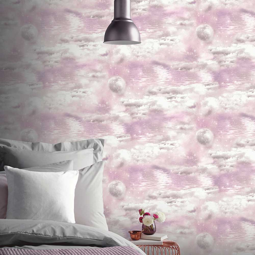 Watery Skies Wallpaper - Pink - by Arthouse