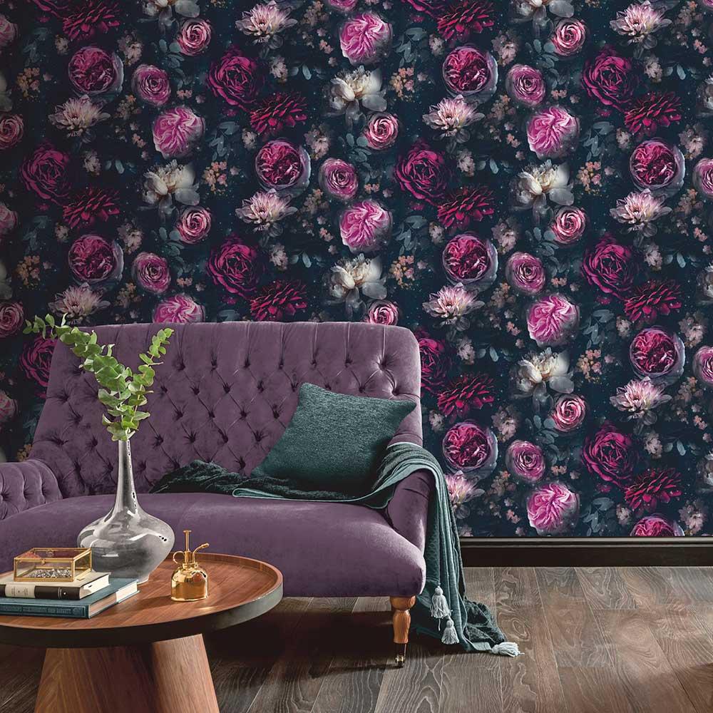 Dark Magic Wallpaper - Pink / Black - by Arthouse