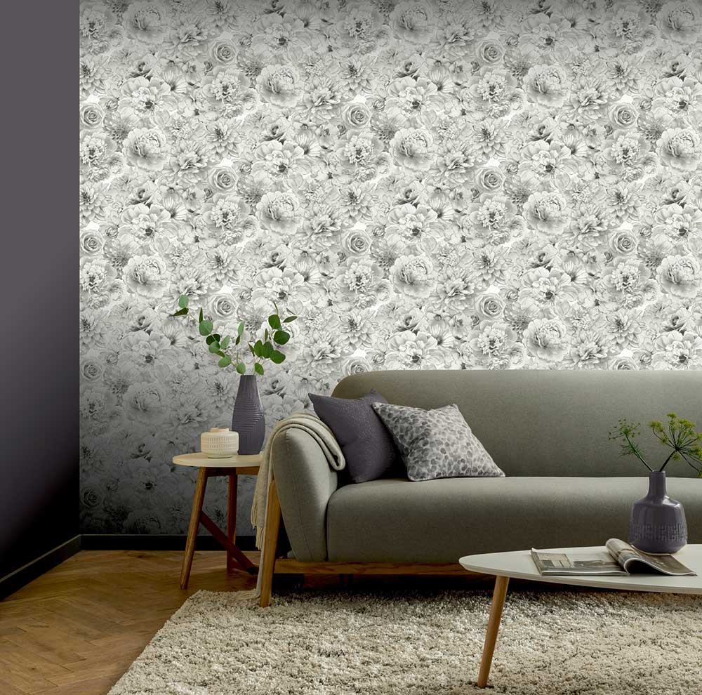 Glitter Bloom Wallpaper - White - by Arthouse