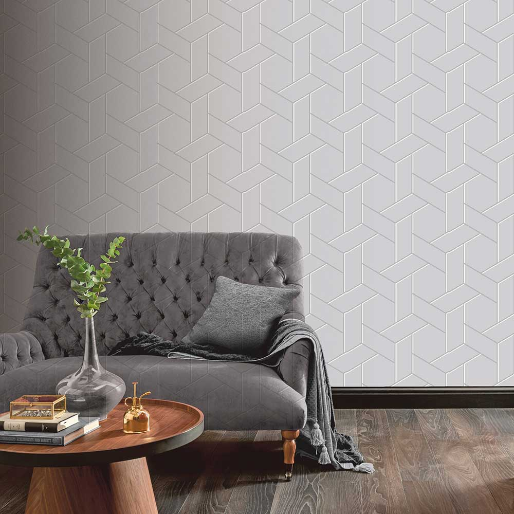 Parquet Geo Wallpaper - Silver - by Arthouse