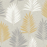 Arthouse Linen Palm Ochre / Grey Wallpaper - Product code: 697800