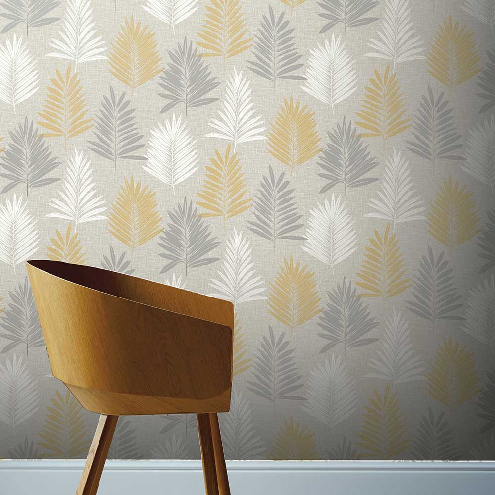 Linen Palm Wallpaper - Ochre / Grey - by Arthouse