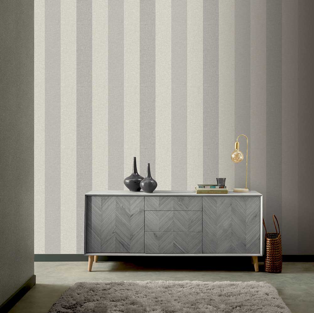 Arthouse Linen Stripe Grey Wallpaper - Product code: 697803