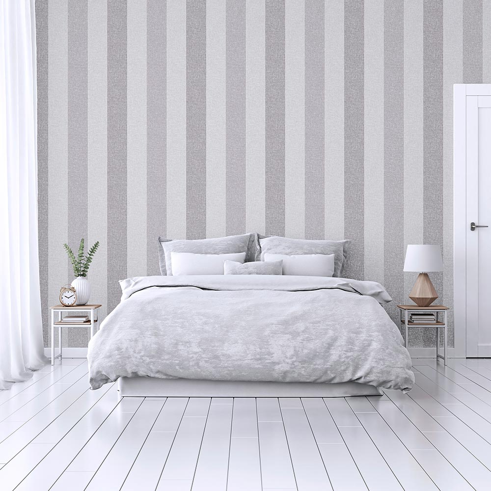 Linen Stripe Wallpaper - Grey - by Arthouse