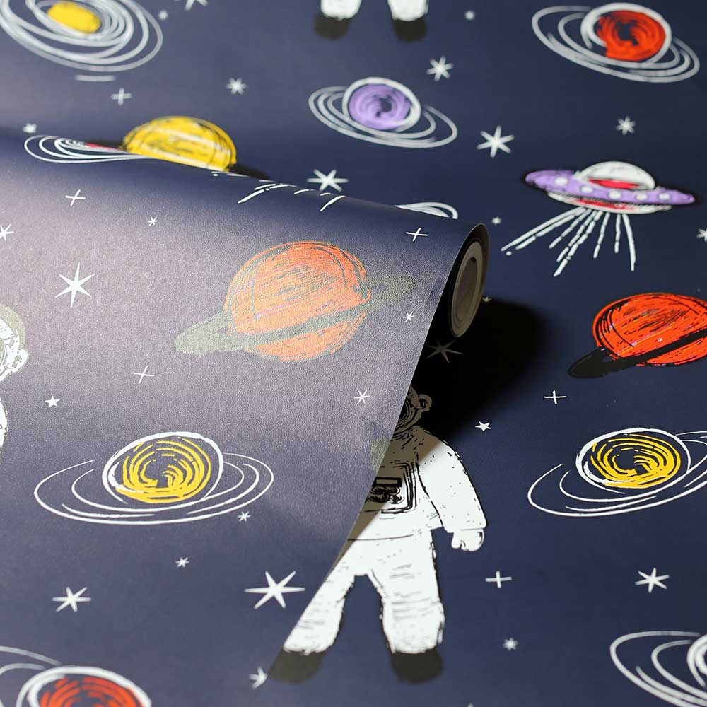 Spaceman Wallpaper - Navy  - by Arthouse