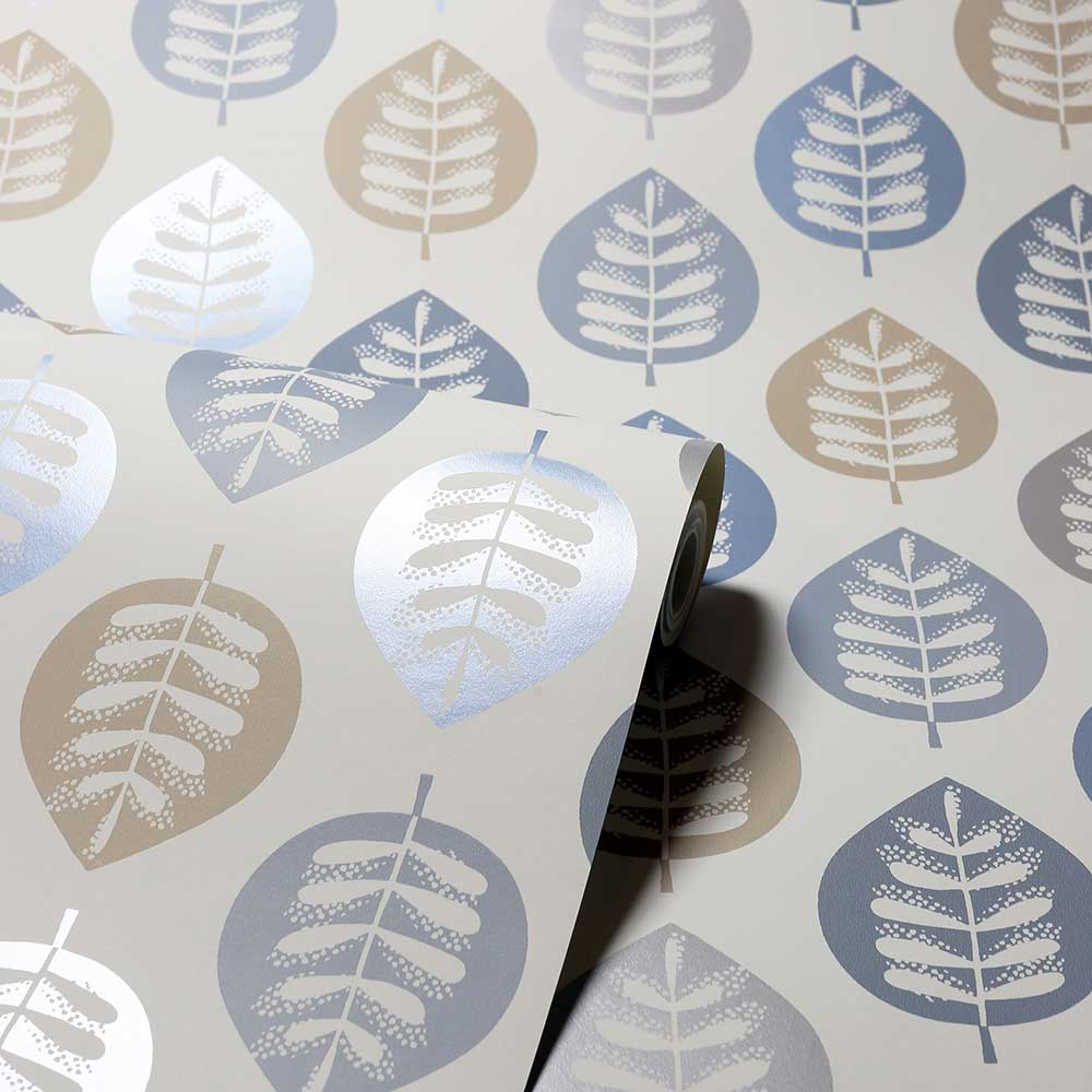 Amira Leaf Wallpaper - Blue - by Arthouse