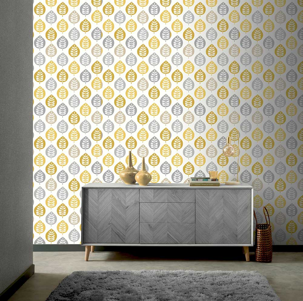 Amira Leaf Wallpaper - Ochre - by Arthouse