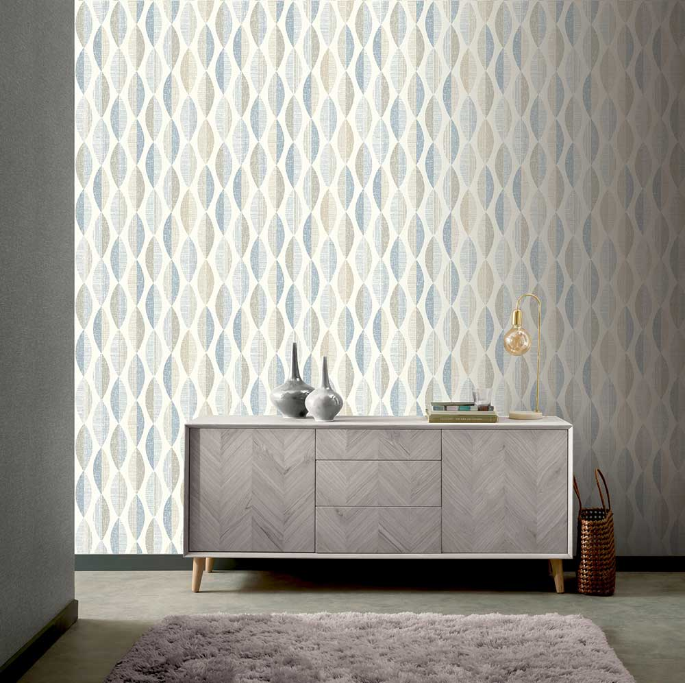 Aziza Geo Wallpaper - Blue - by Arthouse