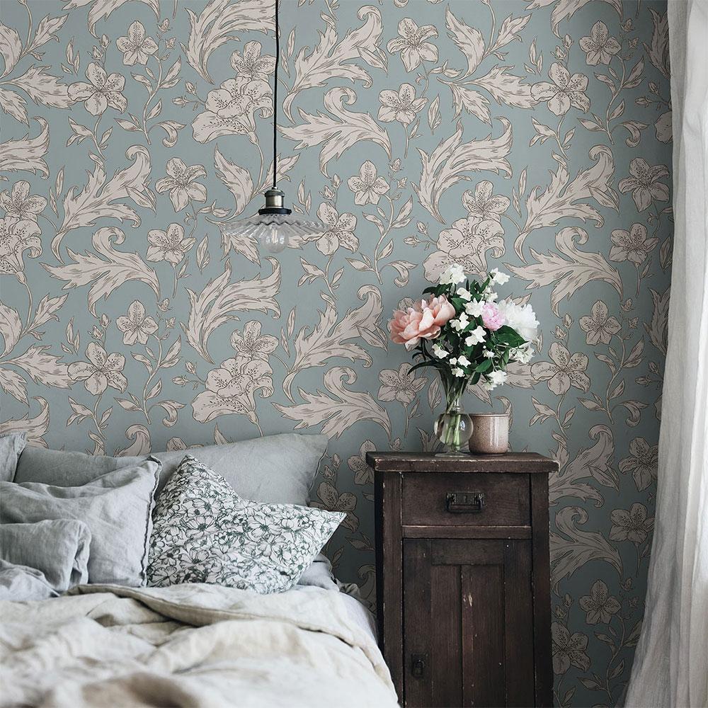 Karin Wallpaper - Misty Blue - by Sandberg