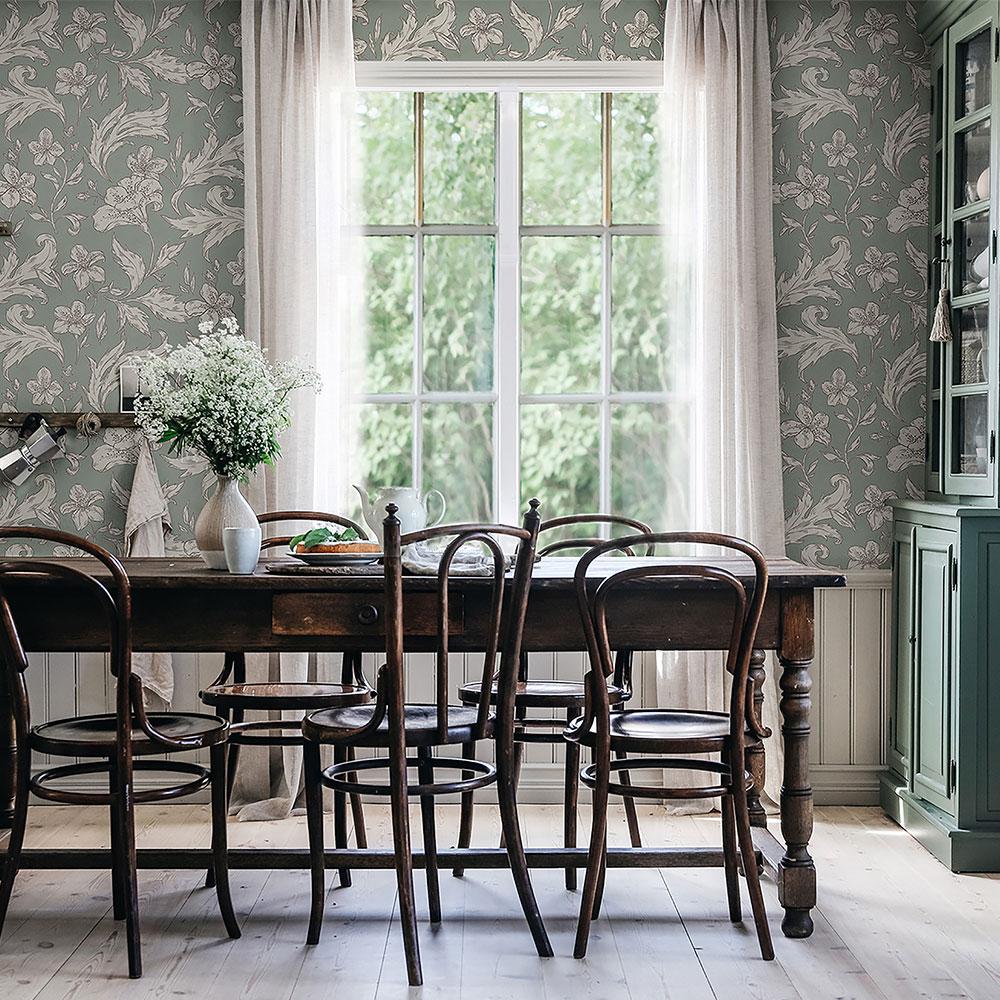 Karin Wallpaper - Forest Green - by Sandberg