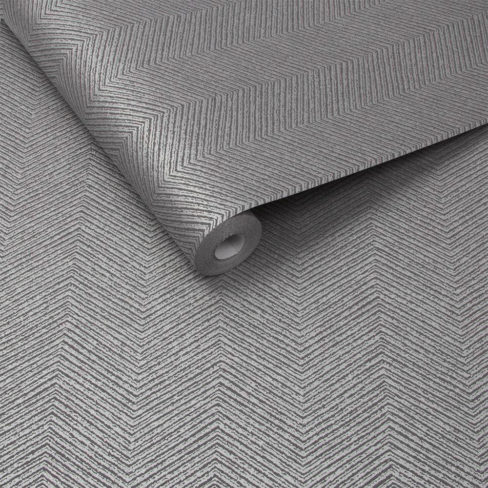 Chevron Wallpaper - Silver - by Graham & Brown