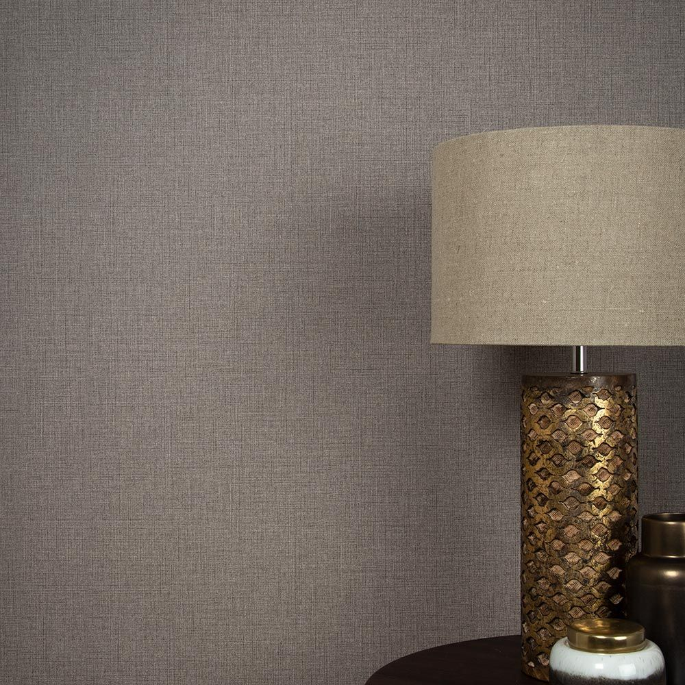 Linen Wallpaper - Chocolate - by Graham & Brown