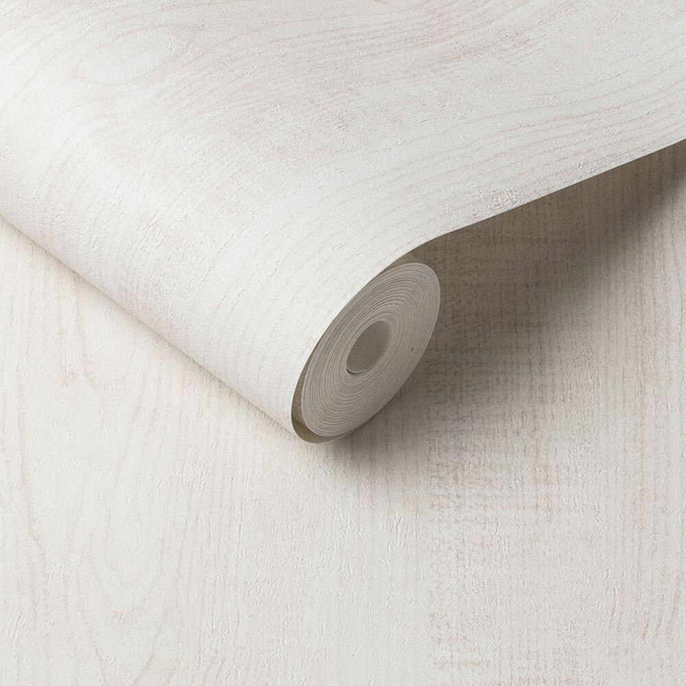 Wood Grain Wallpaper - White - by Graham & Brown