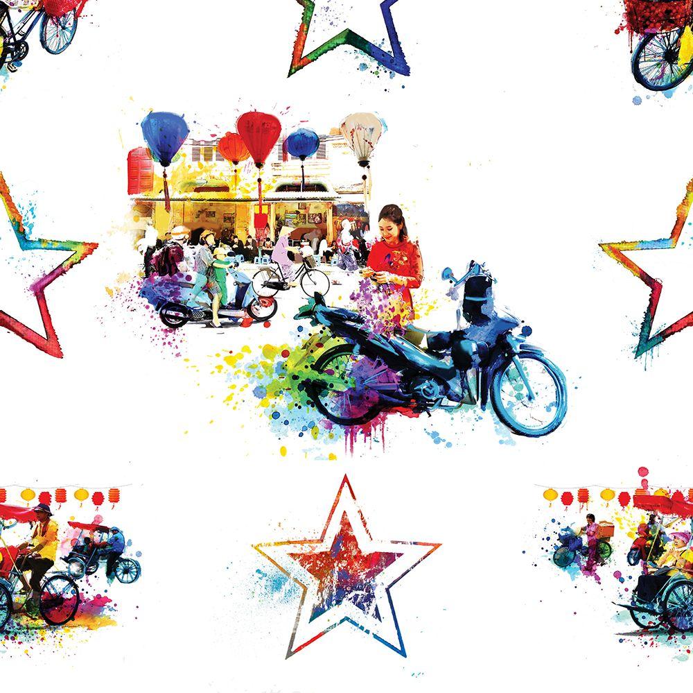 Hattie Lloyd Hanoi Hustle - Vibrant City Multi-coloured Wallpaper - Product code: HLHHVC01