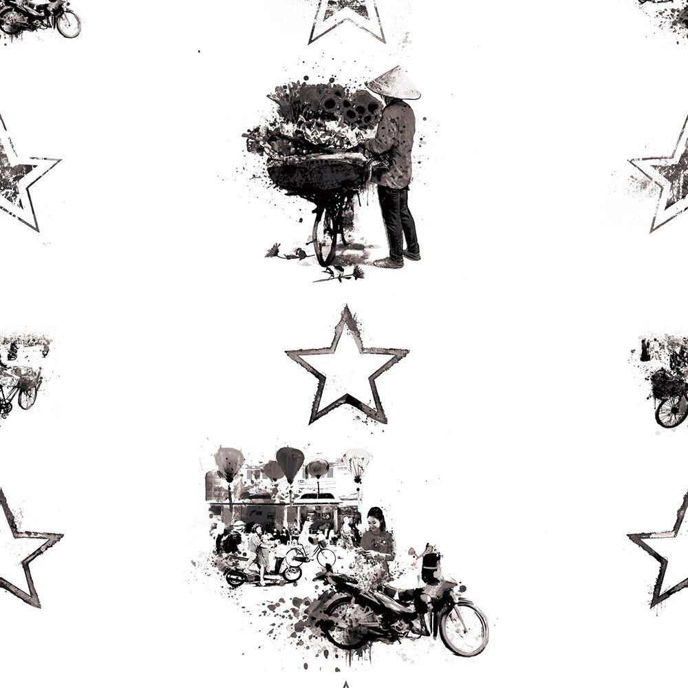 Hanoi Hustle - Classic City Wallpaper - Black / White - by Hattie Lloyd