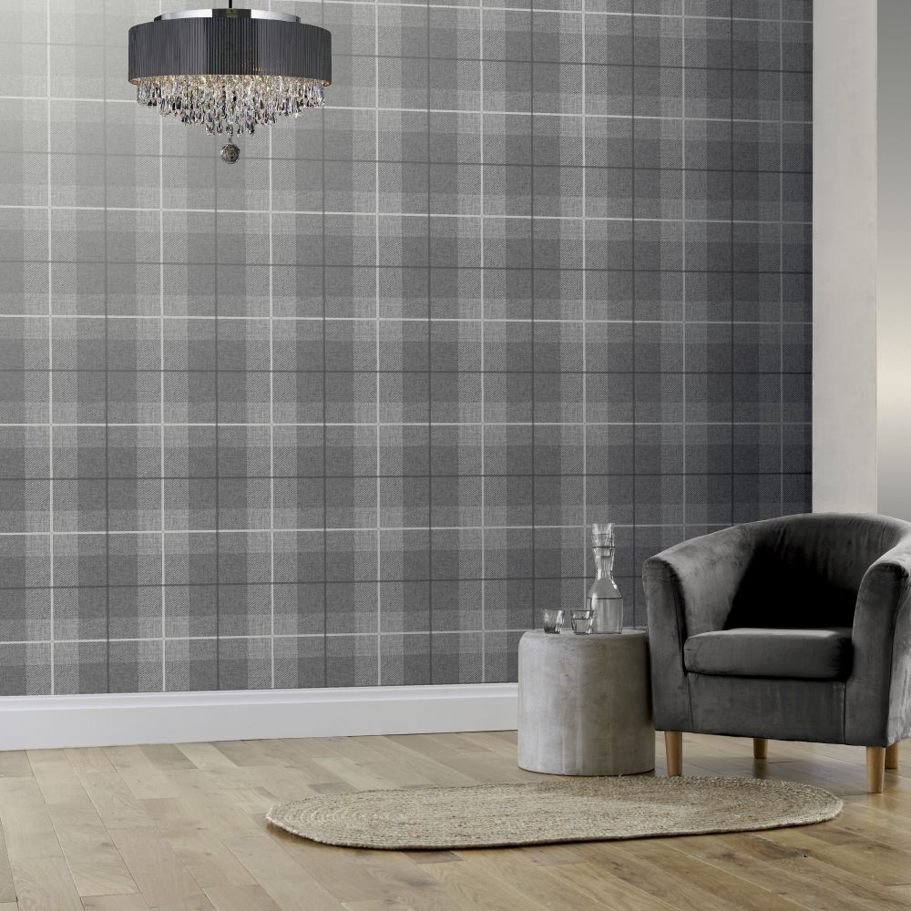 Arthouse Country Tartan Charcoal Wallpaper - Product code: 294900