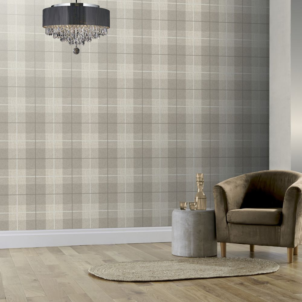 Country Tartan Wallpaper - Taupe - by Arthouse