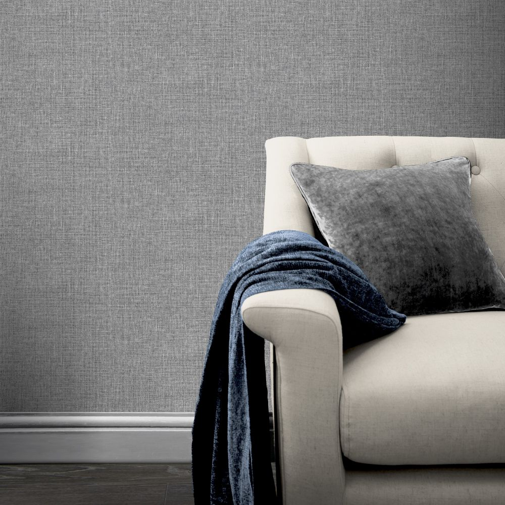 Country Plain Wallpaper - Charcoal - by Arthouse