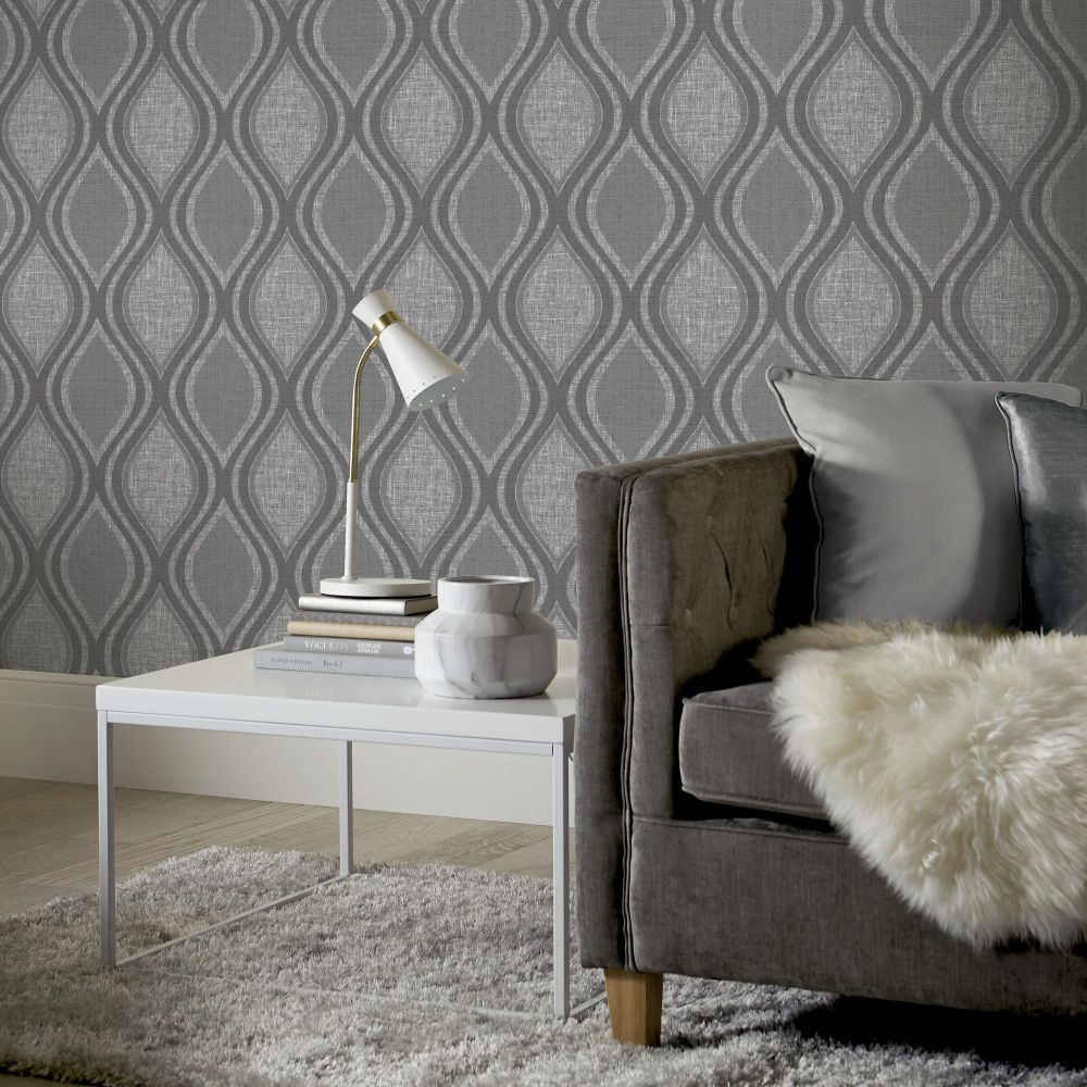 Curve Wallpaper - Charcoal - by Arthouse