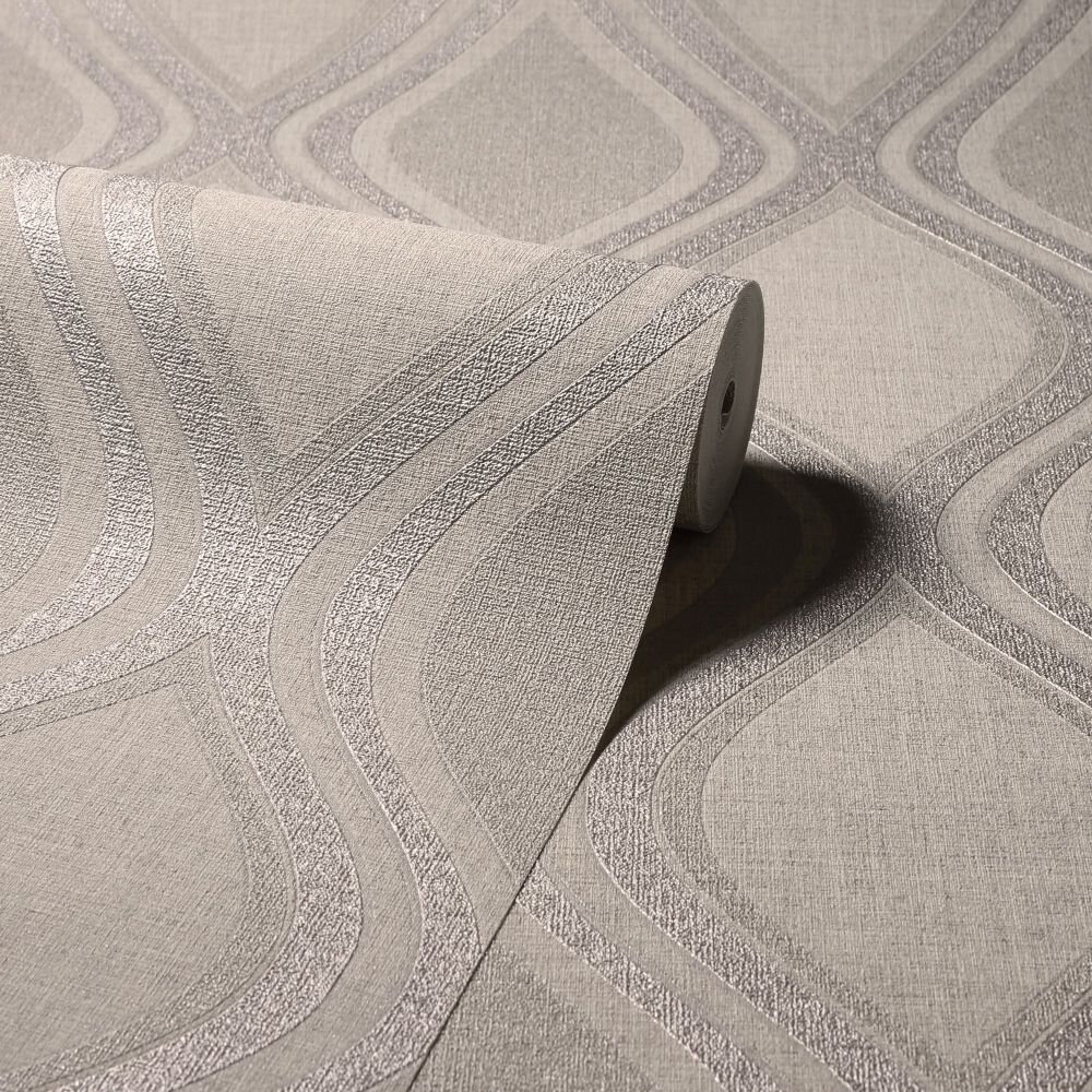 Curve Wallpaper - Taupe - by Arthouse
