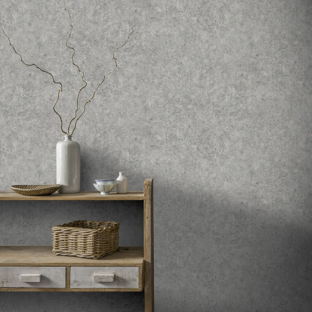 Concrete Wallpaper - Grey - by Arthouse