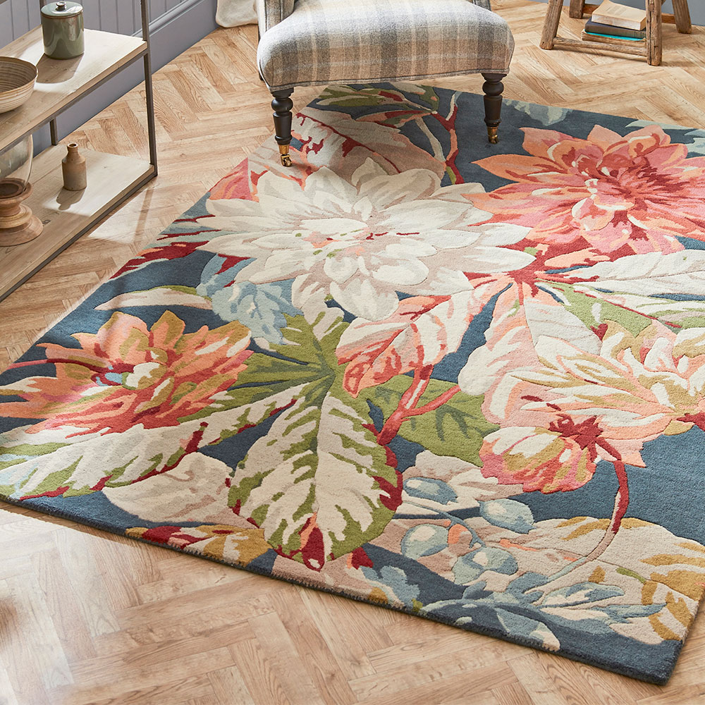 Sanderson Dahlia and Rosehip Rug Teal - Product code: 50608 / 257284