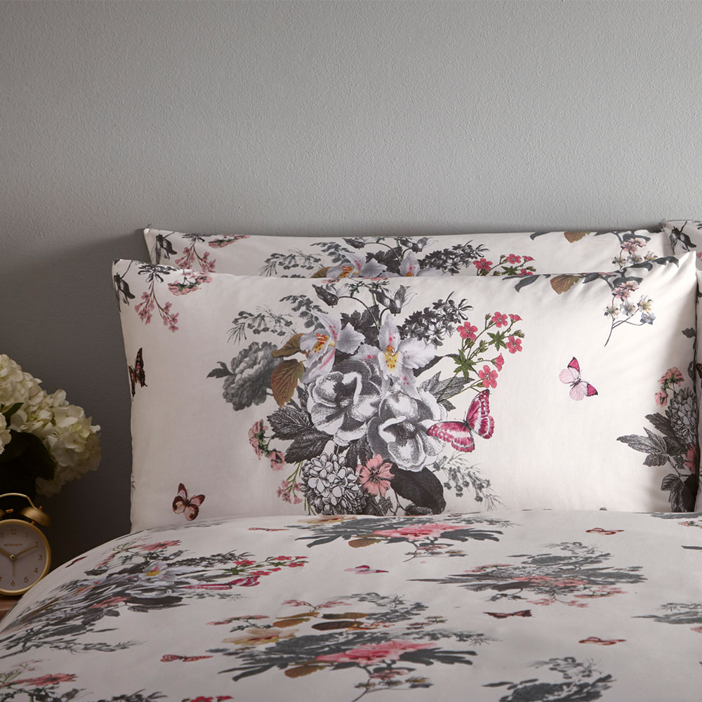 Botanical Bouquet Pillowcase Pair - Ivory - by Oasis
