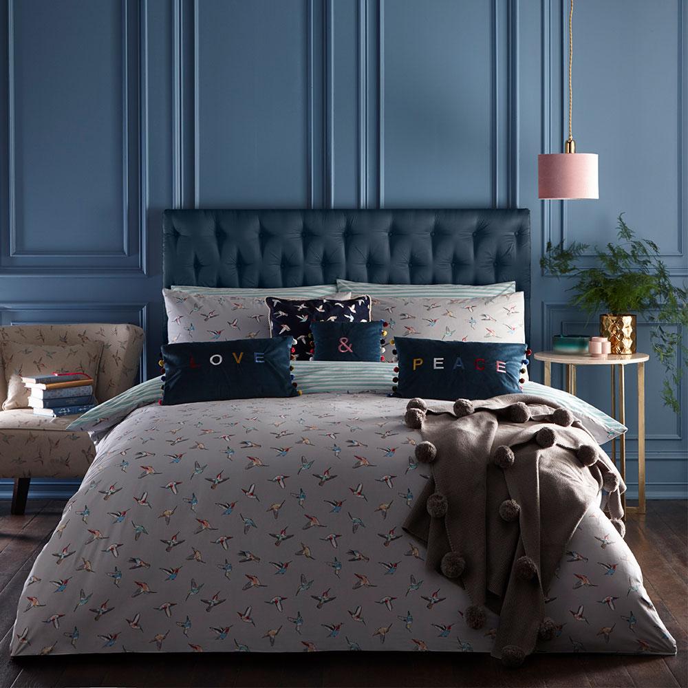 Hummingbird Pillowcase Pair - Grey - by Oasis