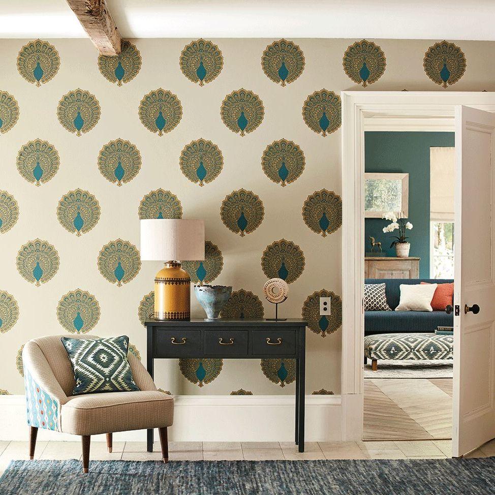 Kalapi Wallpaper - Peacock - by Sanderson