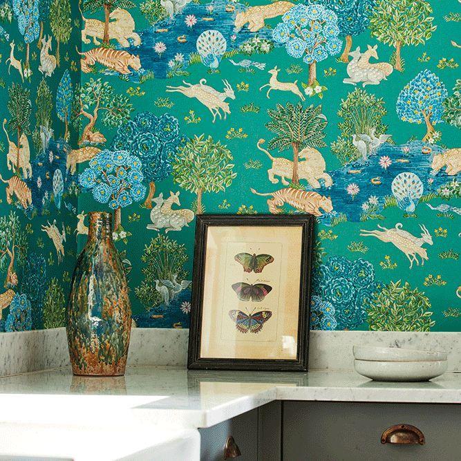 Pamir Garden Wallpaper - Teal / Peacock - by Sanderson