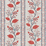 Nina Campbell Pomegranate Trail Red / French Blue / Natural Fabric - Product code: NCF4360-04