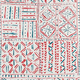 Nina Campbell Cloisters Red / French Blue / Natural Fabric - Product code: NCF4361-04