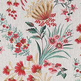 Nina Campbell Michelham Red / Teal Fabric - Product code: NCF4362-02