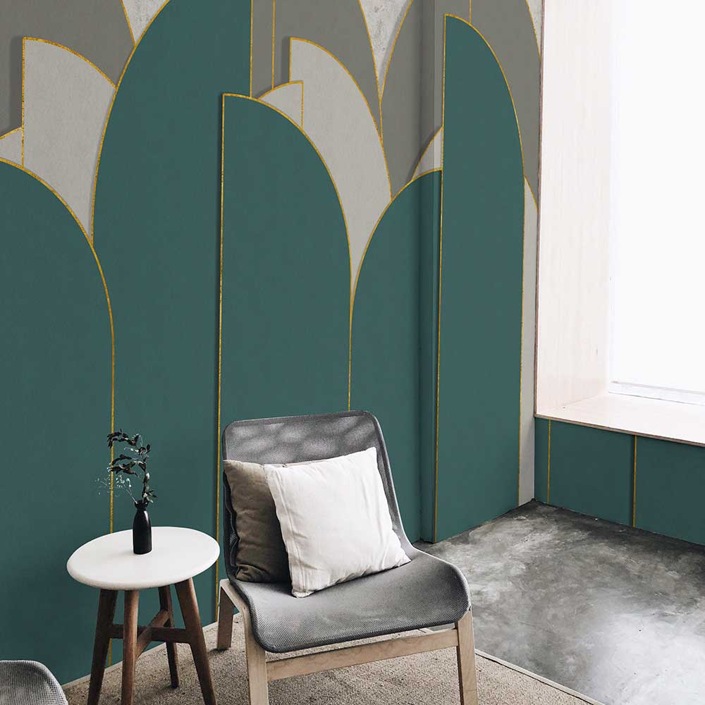 Pavilion Mural - Turquoise - by Coordonne