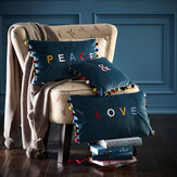 Oasis Peace / Love Cushion Blue - Product code: M2089/02