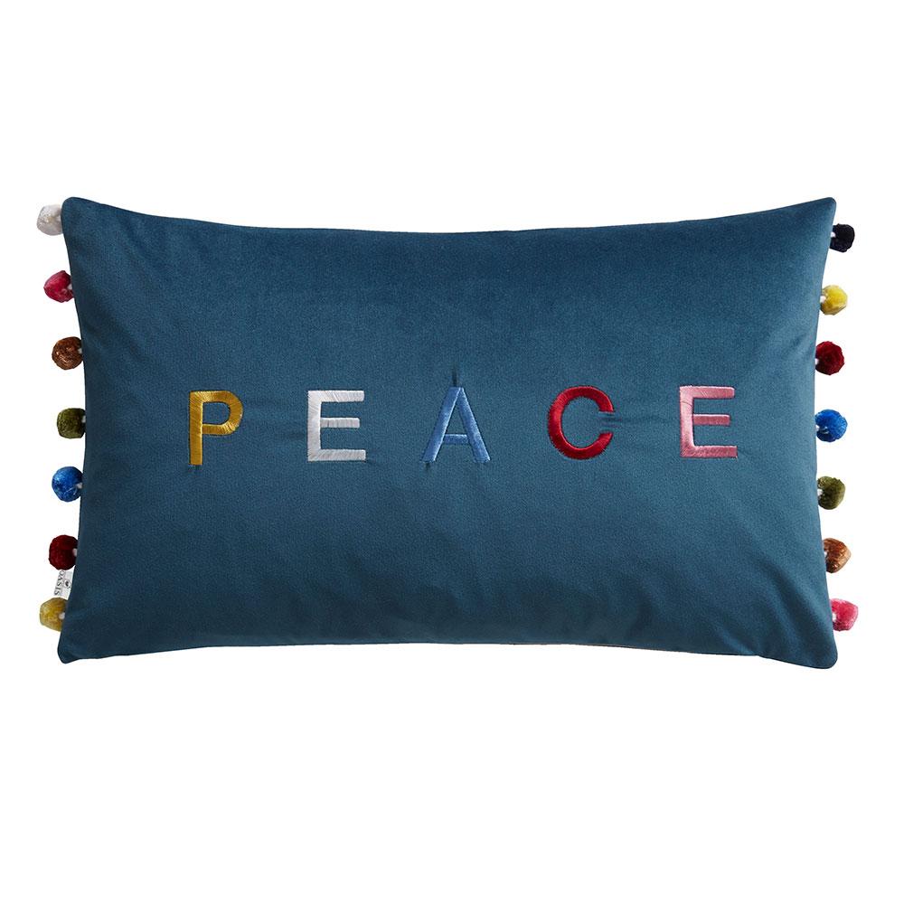 Peace / Love Cushion - Blue - by Oasis