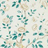 Sanderson Andhara Teal / Cream Wallpaper - Product code: 216794