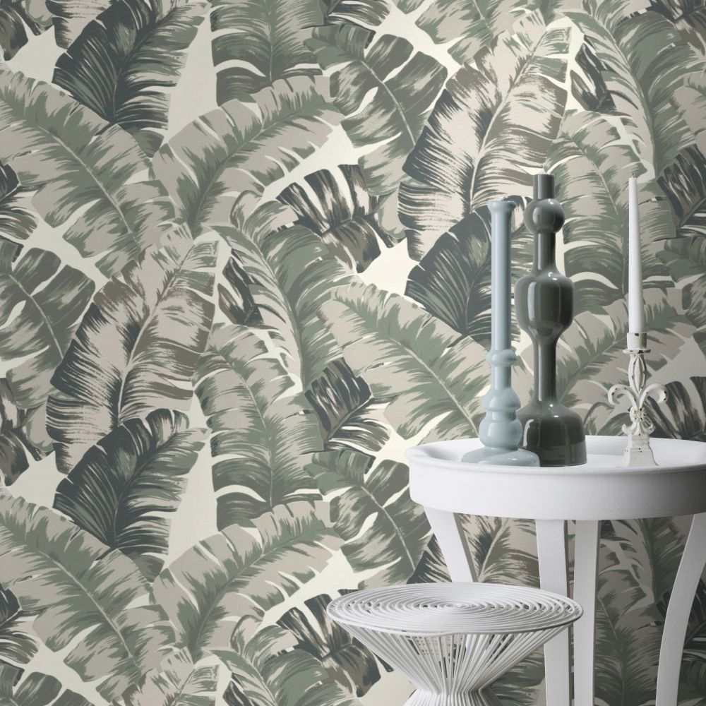 Banana Palm Wallpaper - Grey / Green - by Albany