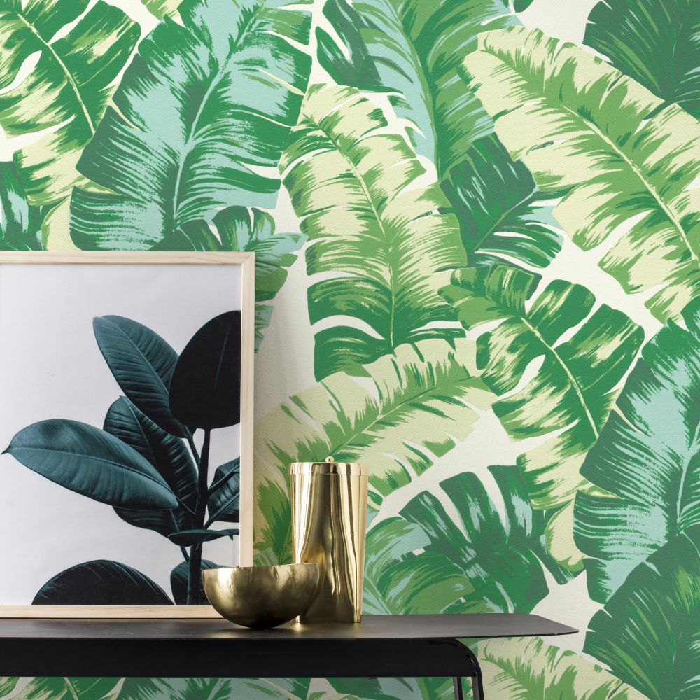 Banana Palm Wallpaper - Green - by Albany
