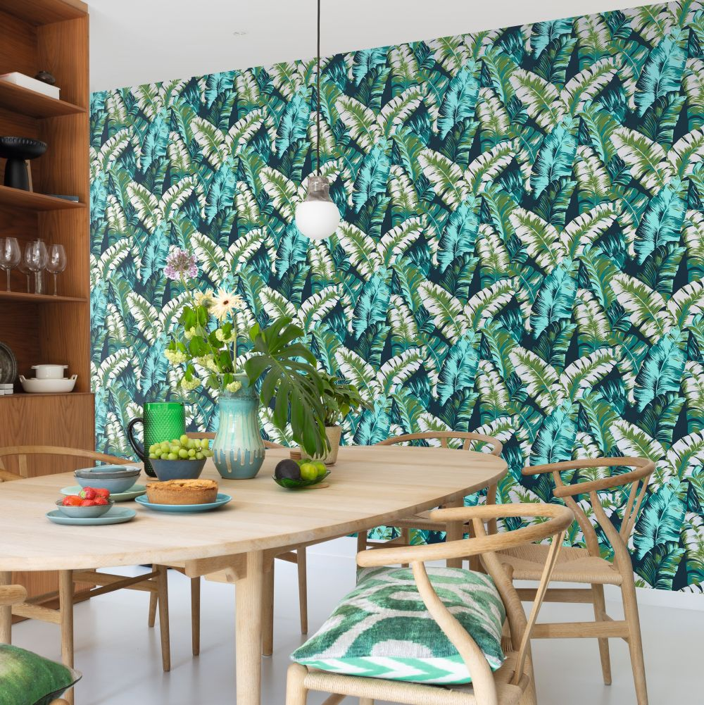 Albany Banana Palm Green / Teal Wallpaper - Product code: 535655