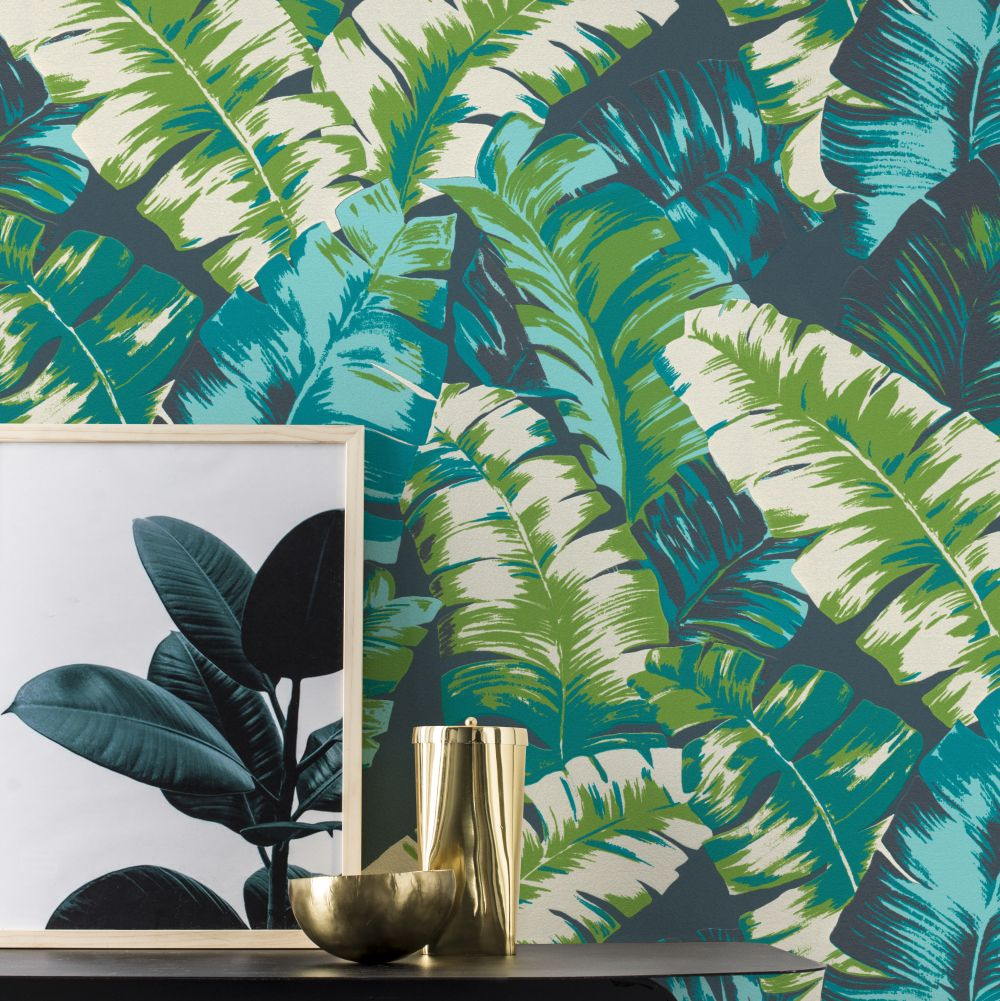 Banana Palm Wallpaper - Green / Teal - by Albany