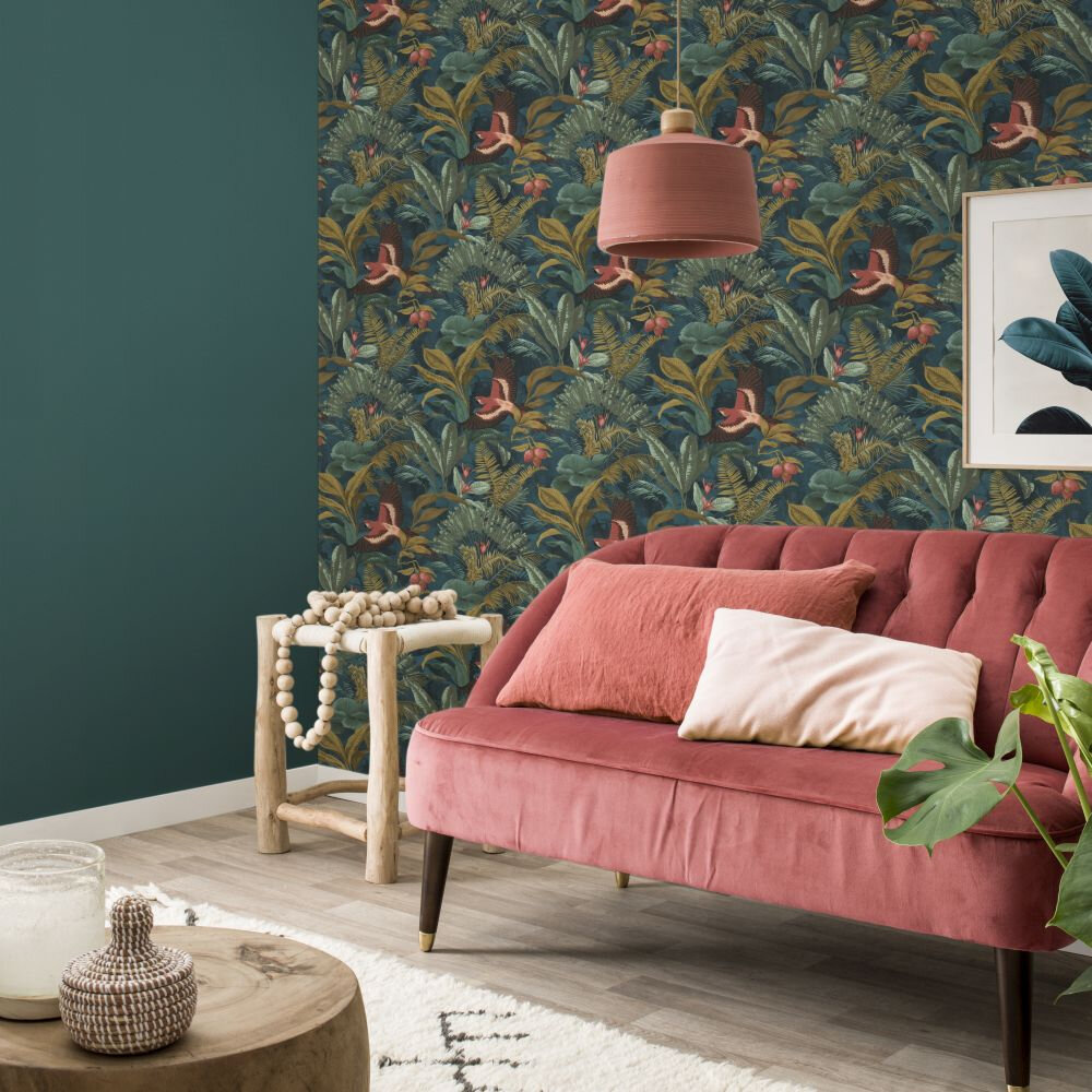 Parrot Jungle Wallpaper - Teal - by Albany