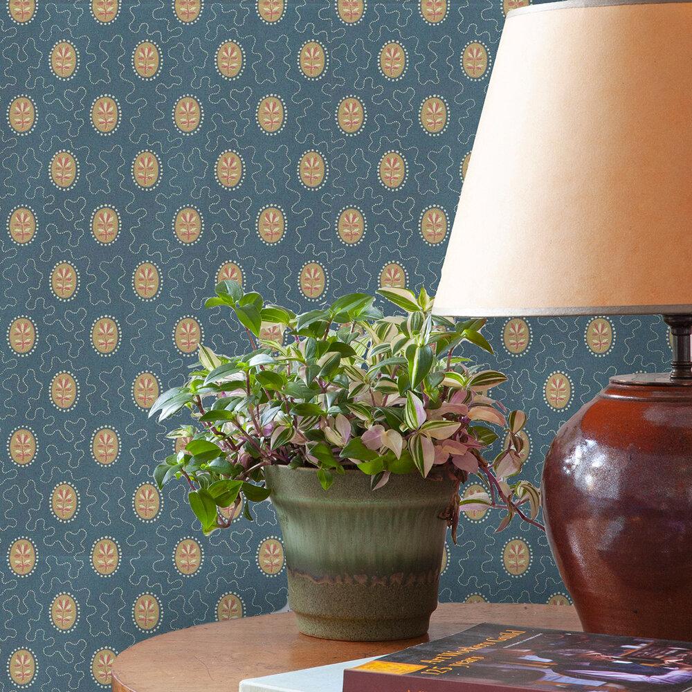 Archway House Wallpaper - Dark Teal / Ochre - by Hamilton Weston Wallpapers
