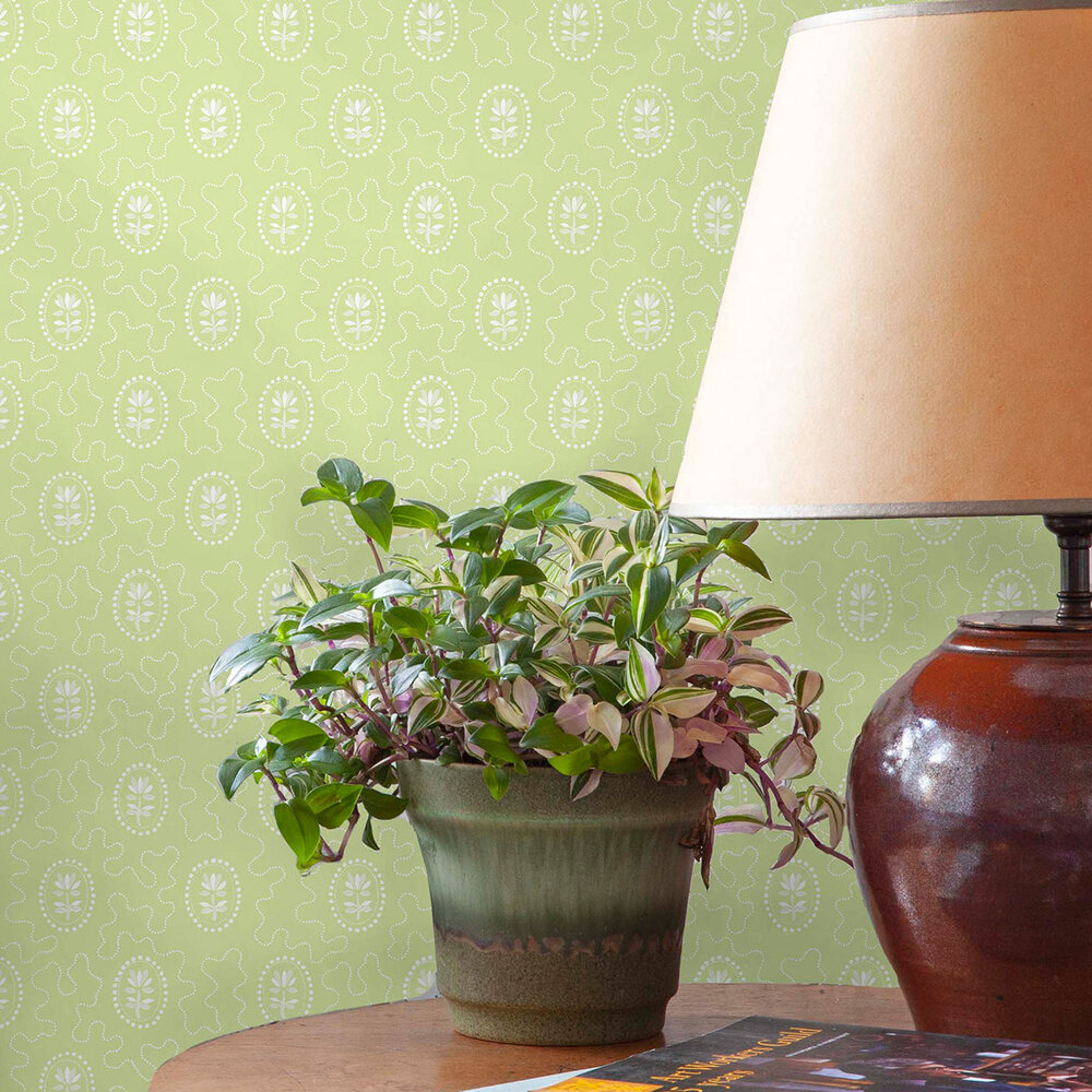 Archway House Wallpaper - Vivid Green - by Hamilton Weston Wallpapers